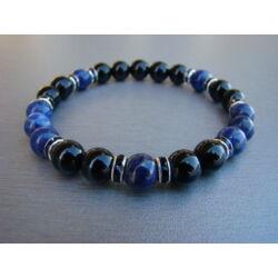 Férfi ásvány karkötő strasszal Ónix - Lápisz Lazuli  8 mm