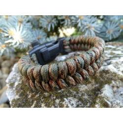 Paracord Fishtail extra karkötő tűzgyújtós csattal - Erdő terep