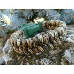 Paracord Fishtail extra karkötő tűzgyújtós csattal - Világos erdő terep