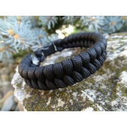 Paracord Fishtail karkötő - Fekete