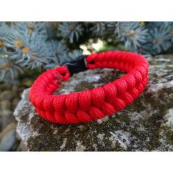 Paracord Fishtail karkötő - Piros