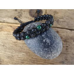 Malachit - matt Ónix - Lávakő kétsoros shamballa ásvány karkötő 6 mm