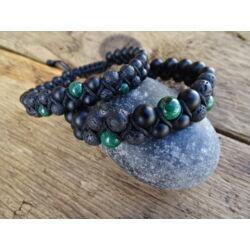 Malachit - matt Ónix - Lávakő kétsoros shamballa ásvány karkötő párban