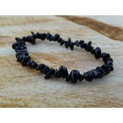 Fekete Turmalin (Sörl) gömbölyített ásvány karkötő
