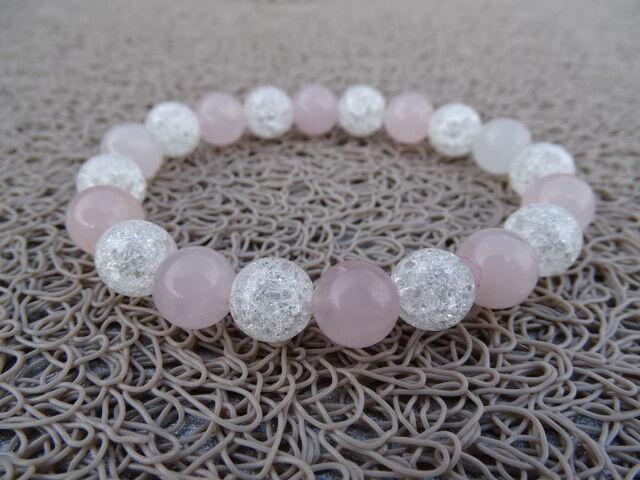 Rózsakvarc - repesztett Hegyikristály ásvány karkötő 10 mm