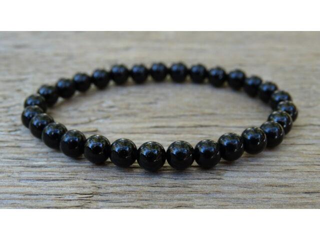 Fekete Turmalin (Sörl) ásvány karkötő 6 mm