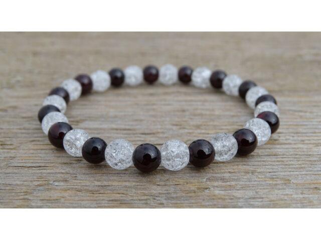Gránát - Repesztett Hegyikristály ásvány karkötő 6 mm
