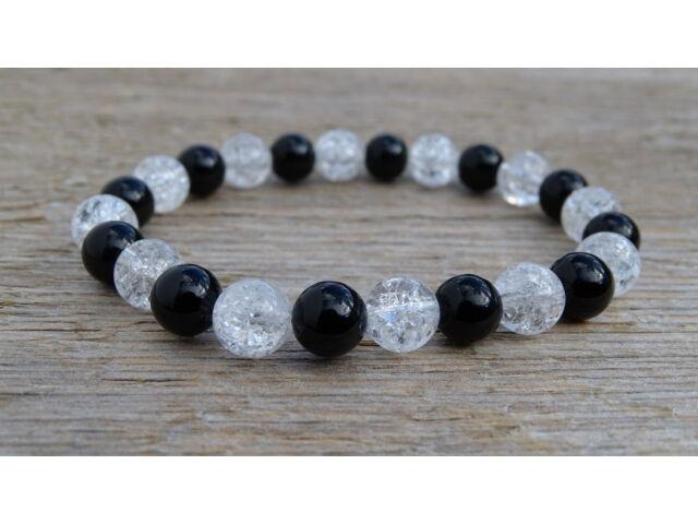 Ónix - repesztett Hegyikristály ásvány karkötő 8 mm