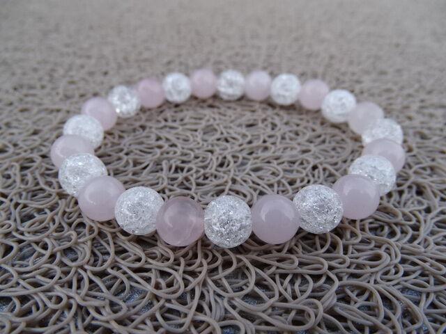 Rózsakvarc - repesztett Hegyikristály ásvány karkötő 8 mm