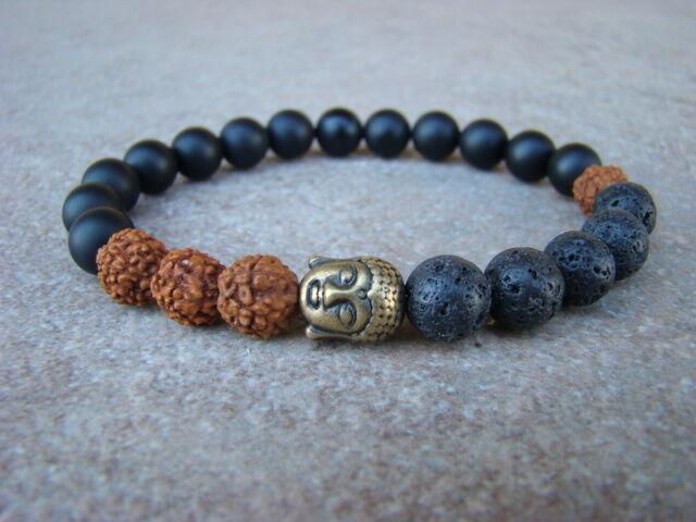Buddha ásvány karkötő matt Ónix - Lávakő - Rudraksha mag 8 mm