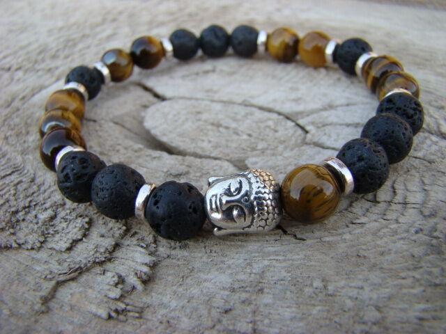 Buddha ásvány karkötő Lávakő - Tigrisszem 8 mm