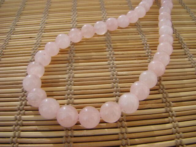Rózsakvarc ásvány nyaklánc 10 mm