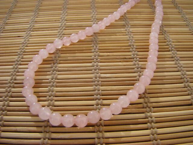 Rózsakvarc ásvány nyaklánc 6 mm