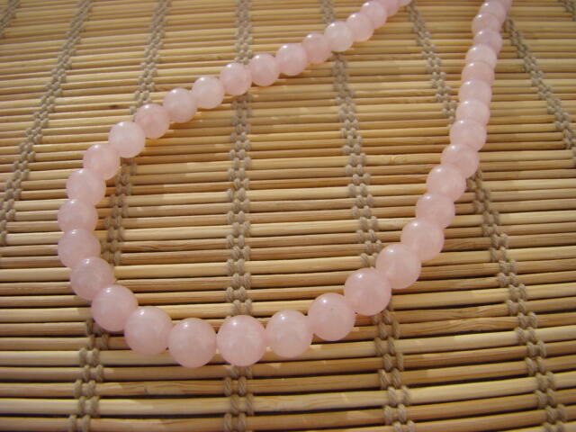 Rózsakvarc ásvány nyaklánc 8 mm