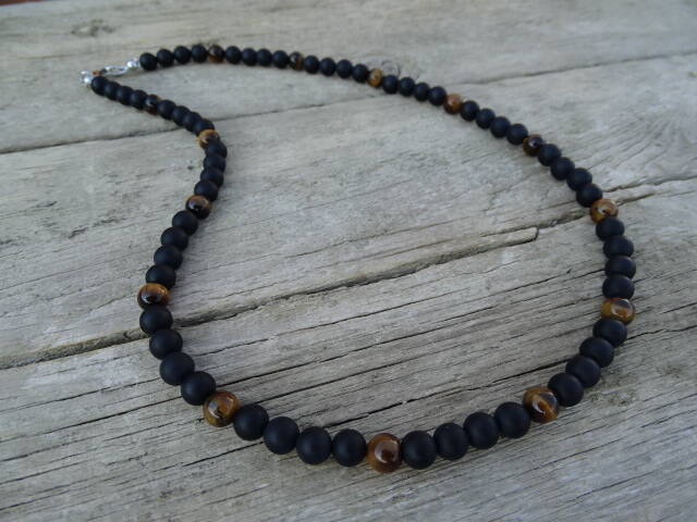 Férfi ásvány nyaklánc matt Ónix - Tigrisszem 6 mm